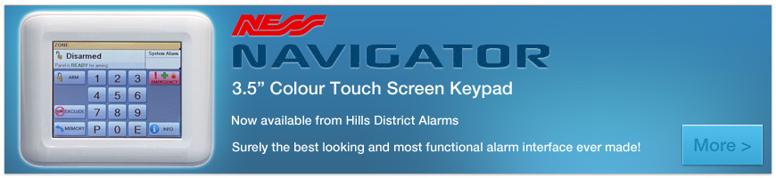 NESS Navigator - 3.5 inch touch screen keypad now available from Hills District Alarms